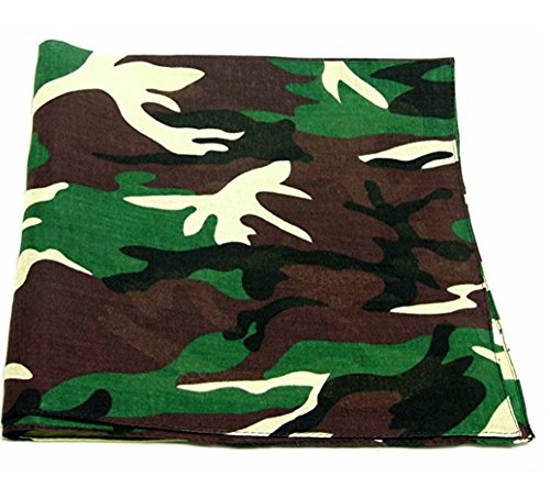 M.H.I. 12 Pack One Dozen Color Double Sided Print Paisley Cowboy Novelty 100% Cotton Bandana Scarf(Many Colors) (Green Camo)]()