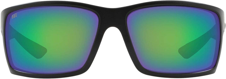 Costa Del Mar Men's Reefton Polarized Rectangular Sunglasses, Blackout/Green Mirrored Polarized-580G, 64 mm