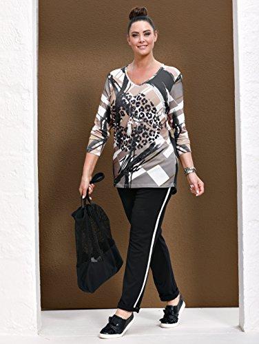 MIAMODA Damen Longshirt in Feinstrick-Qualität by Beige/Schwarz Bedruckt XEuDiQS