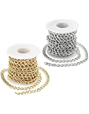 2 rollen aluminium sieraden ketting Gouden sieraden maken Gedraaide ketting DIY schakelketting Schakelketting Voeten Legering kettingen Schakelkettingen voor sieraden maken, per rol 5 m