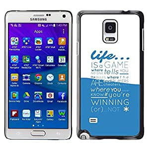 LECELL -- Funda protectora / Cubierta / Piel For Samsung Galaxy Note 4 SM-N910F SM-N910K SM-N910C SM-N910W8 SM-N910U SM-N910 -- Life Is A Game Typography --