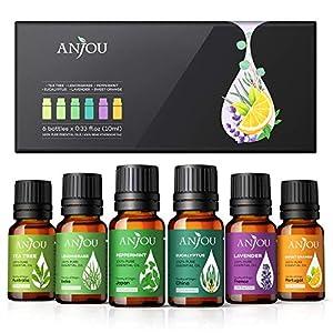 Anjou Huiles Essentielles Aromathérapie 6 * 10ml 100% Pures et Naturelles BIO, Adaptées aux Diffuseurs, Massage, Soins…