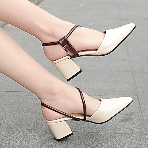 FEI Mules Rough-heeled Sandals Female Summer Buckles Pointed Heels Sandals Hollow Baotou Korean Women's Shoes Brown White Sandals Casual (Color : White, Size : EU36/UK3.5/CN35) White