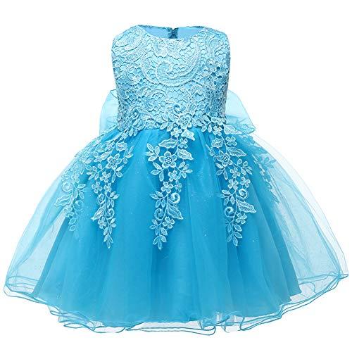 LZH Baby Girls Birthday Christening Dress Baptism Wedding Party Flower Dress (5801-Blue,6M)]()