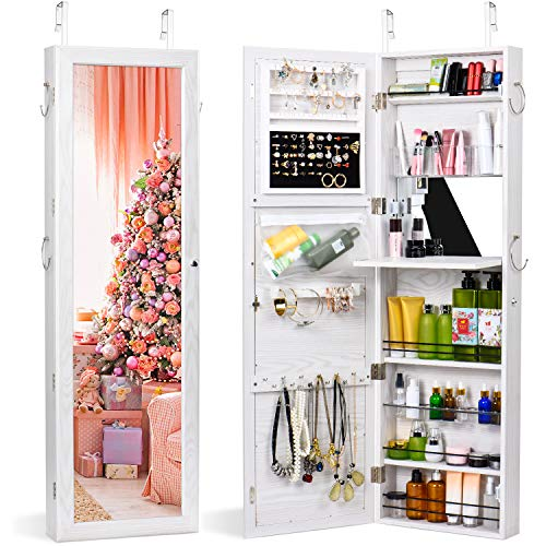 (TWING Jewelry Armoire Cabinet Wall Door Mounted Jewelry Armoire with Full-Length Mirror Lockable Large Jewelry Organizer(White))