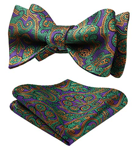 SetSense Men's Paisley Jacquard Wedding Party Self Bow Tie Pocket Square Set,L214 Green / Purple,One Size - Green Paisley Bow Tie