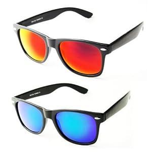 PURECITY® – Lunettes de Soleil Style Wayfarer – Geek Retro Vintage 80 s –  Verres Effet Miroir Revo – Fashion Tendance 00df6f43b901