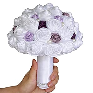Azaleas bouquet of flowers Wedding Bride Holding Bouquet Roses with Pearl Artificial Foam Flower Bouquet 46