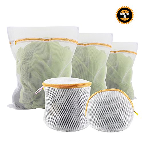Wash Delicates Bag - Shungka Thick Delicate Mesh Laundry Bags Underwear Bra Wash Bag Set of 5 (1 L,1 M, 1 S,2 Bra Wash Bags)