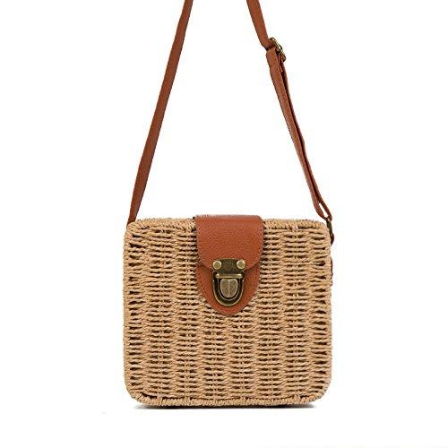 Straw New Dunnomart Female Woven Bag Handmade Handbag Summer Shoulder Mini Ladies Women Khaki Small Bolsa Square Feminina Rattan Bags AwEEp