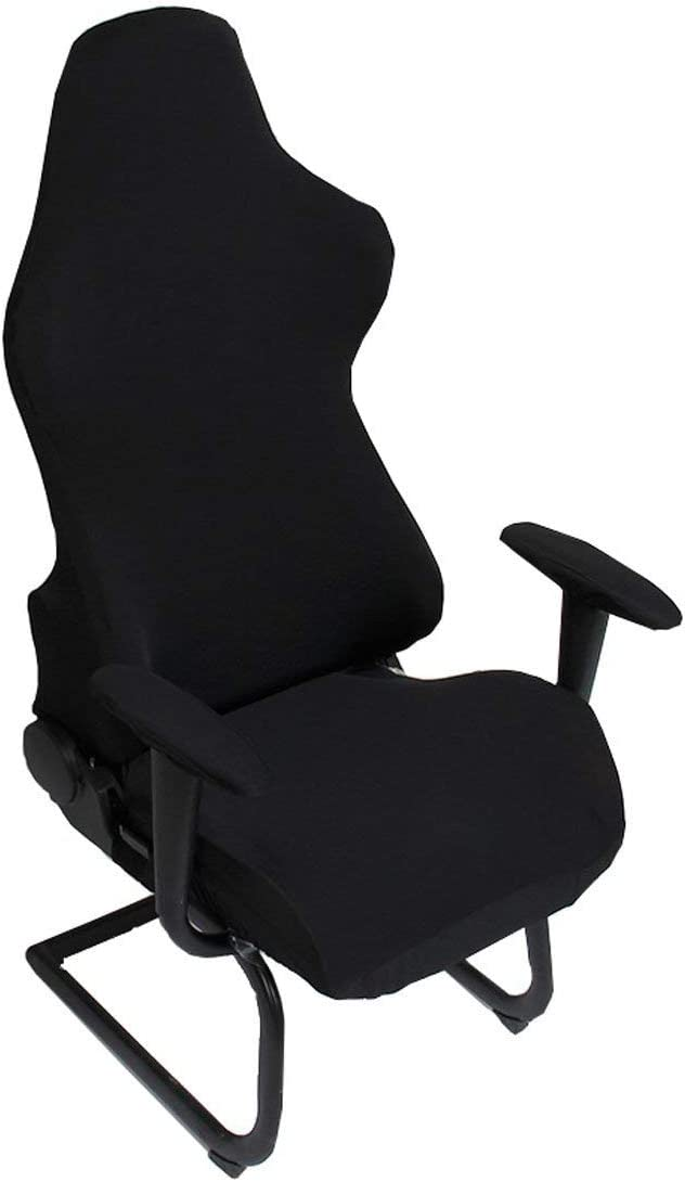 Deisy Dee Slipcovers Cloth Stretch Polyester Chair Cover for Reclining Racing Gaming Chair (Only Chair Covers) (Black)