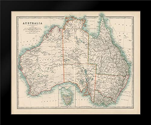 (Johnstons Map of Australia 24x20 Framed Art Print by Johnston)