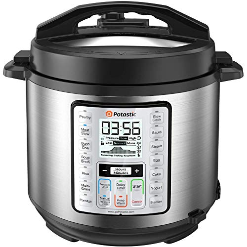 Potastic 6Qt 10-in-1 Programmable Electric Pressure Cooker,LCD Display,Instant Cooking with Stainless Steel Pot, Multi-Cooker,Slow Cooker, Rice Cooker, Yogurt Maker, Egg Cooker, Saut¨¦, Steamer, Warmer