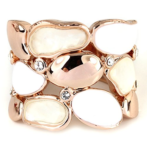 - FC JORY Rose Gold GP Diamante White Enamel Mother of Pearl Shell Wide Ring (8)