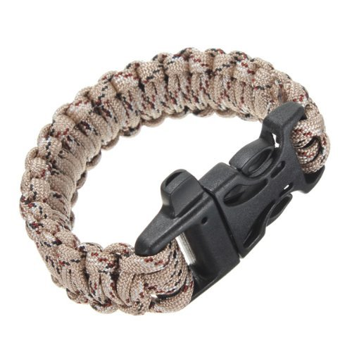 SODIAL(R) Bracelet Sifflet Paracorde Camping Sport Randonnee Suivie Plein Air camouflage brun