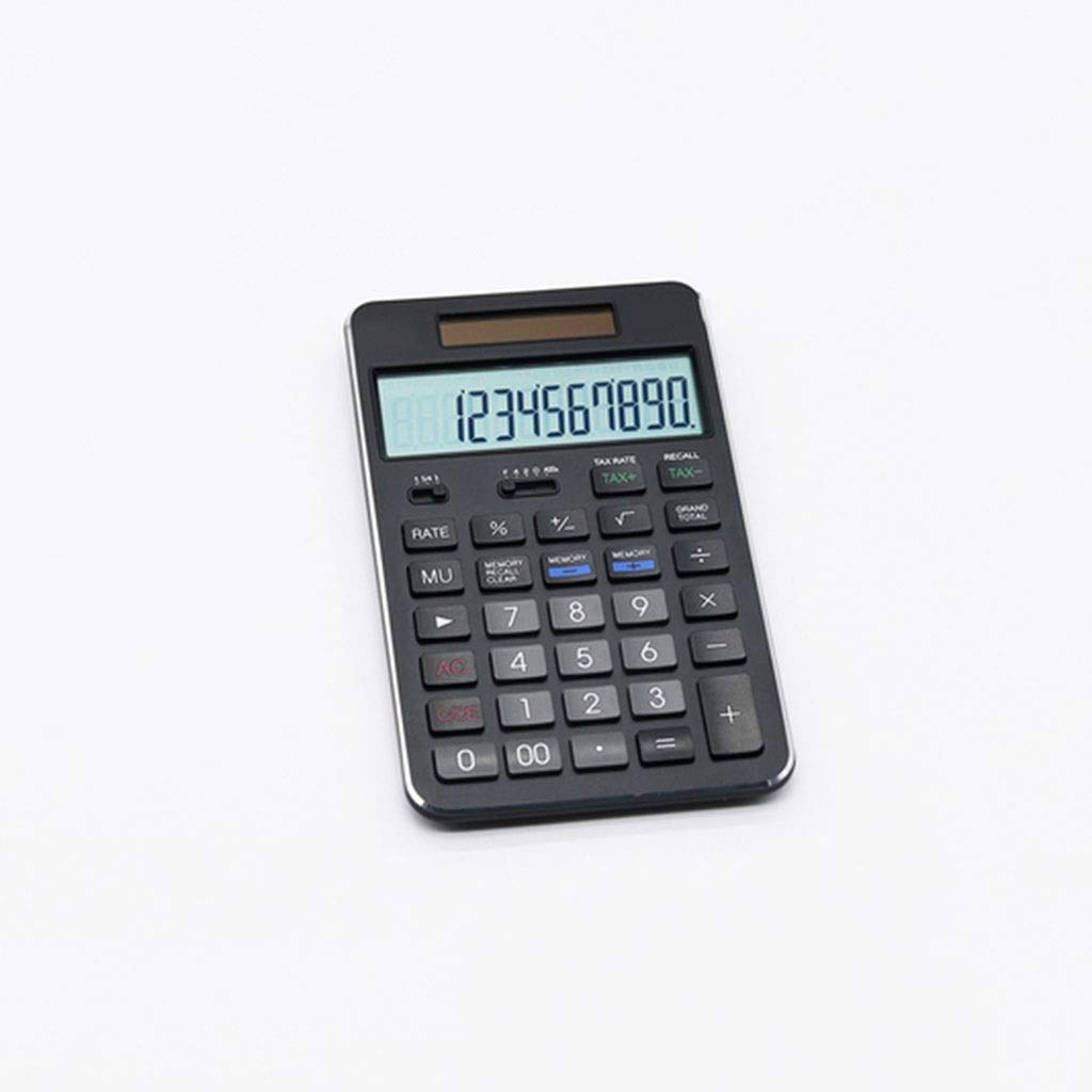 Calculator Currency Counter Calculator Large Display 12-bit Powered Electronic Tax Function Calculator (Without Battery) Office Calculator Vineyard (Color : Jazz Black) by Vineyard