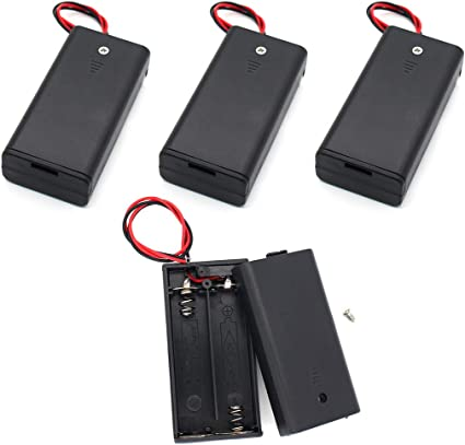 4 Pack Single AA Battery Holder Box Case with Switch /& Wire Leads /& Cover