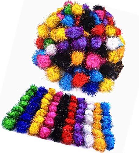 TECH-P Arts& Crafts Pom Poms Sparkle Balls Glitter Pom Poms Pet Toy Balls Holiday Party Christmas Decorations,Assorted Color- 35mm-100Pack+1 PCS TECH-P Coaster