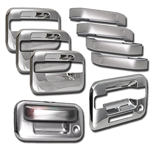 ZMAUTOPARTS Ford F150 4Dr Pickup Door Handle + Tailgate Cover Trim Bezel Chrome Pcs ()