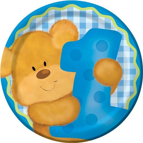 Creative Converting Bears First Birthday Round Dessert Plates, Blue, 8 Count