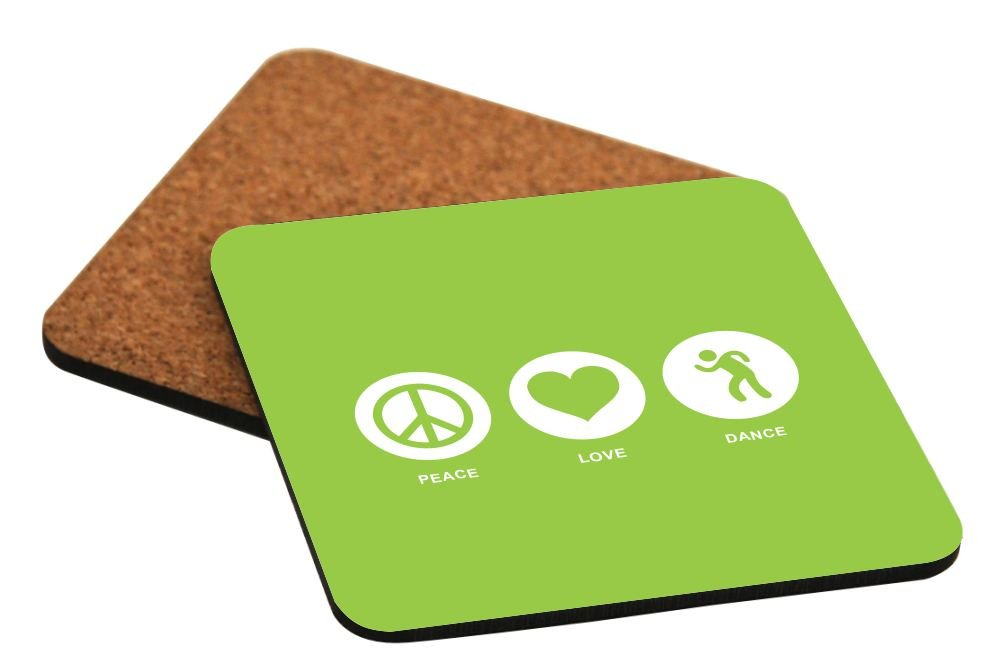Rikki Knight Peace Love Dance Lime Green Color Design Cork Backed Hard Square Beer Coasters, 4-Inch, Brown, 2-Pack