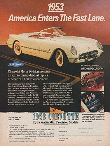 ORIGINAL *PRINT AD* 1990 FRANKLIN MINT VINTAGE COLOR AD with 1953 CHEVROLET CORVETTE Die-Cast Model - USA - GREAT !!