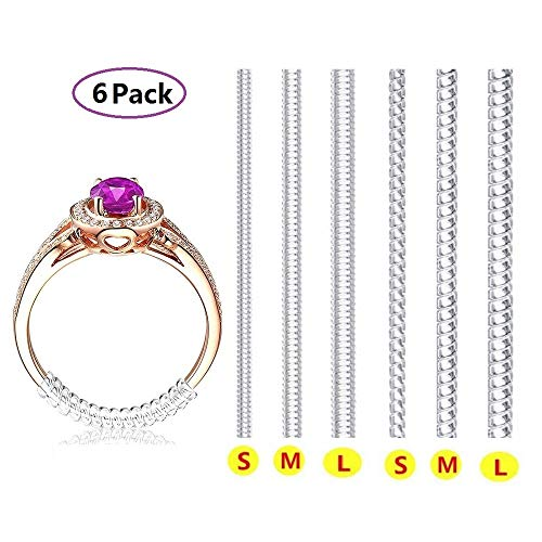 Ring Size Adjuster with Polishing Cloth, 6 Sizes Fit for Any Rings, Clear Ring Sizer, Perfect for Loose Rings (6 Packs)