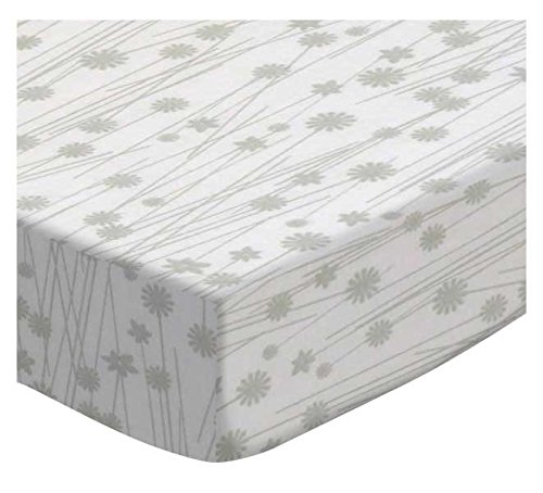 SheetWorld Fitted Portable/Mini Crib Sheet - Grey Floral Stems - Made In USA by SHEETWORLD.COM