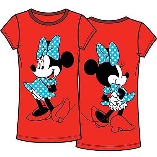 Disney Classic Polka Dot Minnie Mouse Front and Back Junior T Shirt Top - Red L