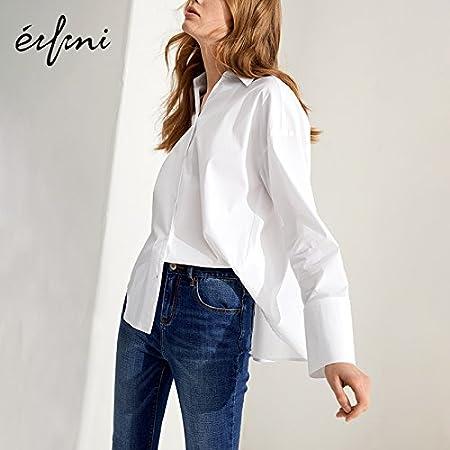 XXIN Suelto Camiseta de Manga Larga Camisa Blanca Chica ...