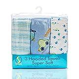 Spasilk Soft Terry Hooded Towel Set, Blue Plane, 3-Count