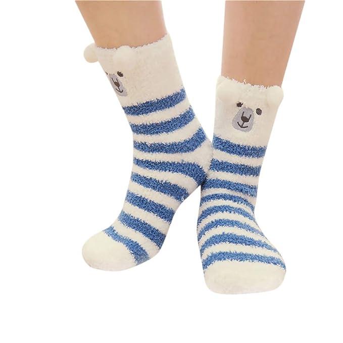 2019 Descuento Calcetines Antideslizantes Niño Mujer Hombre Calcetines Calcetines De Animales Invierno Cálido Mullido Cama Dormir Calcetines De Navidad: ...