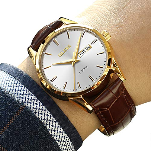 Mens Dress Wrist Watches,Classic Casual Watches for Men,Men's Luxury Business Quartz Watch with Date and Day White Dial Brown Leather Watch,Rose Gold Mens Watches(Luminous-Silver)
