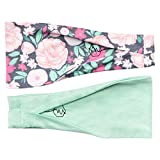 Maven Thread Women's Headband Yoga Running Exercise Sports Workout Athletic Gym Wide Sweat Wicking Stretchy No Slip 2 Pack Set Mint Floral REFRESH by