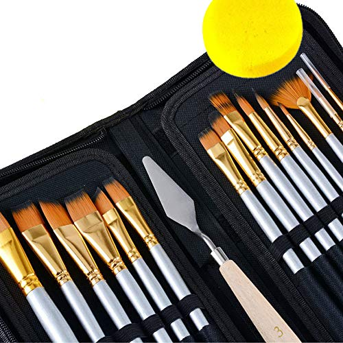 Sale! Reg.$29.99 Now $15.89 Artist Paint Brush Set 15 Different Shapes & Sizes – for Acrylics, Oils, Water Colors and Face & Body Painting. Bonus Palette Knife, Water Color Sponge & Travel Case! by Freestyle Art