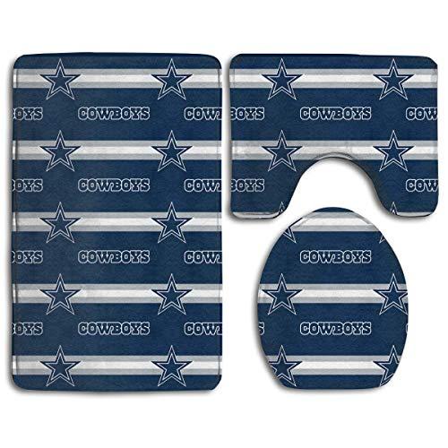 RRSS-KURUI301 Custom Colorful Doormat American Football Team Dallas Cowboys Indoor Bathroom Anti-Skid Mats,3 Piece Non-Slip Bathroom Rugs,Non-Slip Mat Bath + Contour + Toilet Lid ()