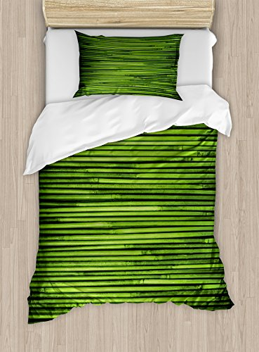 Hunter Green Duvet Cover Set Twin Size by Lunarable, Zen Tropical Bamboo Branches Lined Horizontal Fresh Rainforest Jungle Exotic Print, Decorative 2 Piece Bedding Set with 1 Pillow Sham, Lime (Jungle Twin)