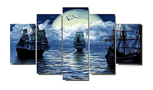 BERDECIA HD 3D Great Wooden Pirate Ship Canvas Wall Art Moonrise Rising from black sea painting, canvas in realism 5 murals Living room (unmounted) Galleon Pirate Ship