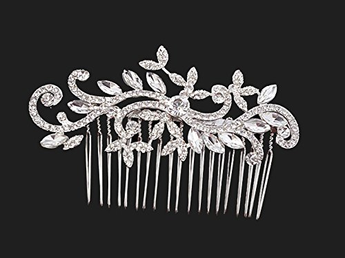 Timelessbride Crystal Scrolling Vine Floral Bridal Hair Comb, Silver Tone