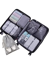 Voniry 8 Set Packing Cubes - Waterproof Mesh Compression Travel Luggage Packing Organizer with Shoes Bag(Gray)