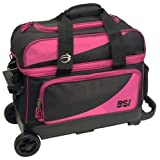 Bowlers Superior Inventory BSI Prestige Double Roller Bowling Bag- Black/Pink ()