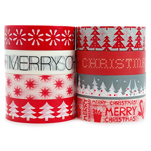 Crafty Rabbit Christmas Washi Tape - Set of 8 Rolls - 262 Feet Total - Red, Grey, White