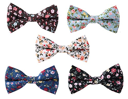 Levao Men's Cotton Floral Printing Bow Tie Mix 5 colors by Levao