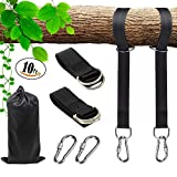 AMP-STW Garden Courtyard Tree Swing Straps X2 Non-Stretch Kids,Adjustable Tree Swing Hanging Kit Any Length Holds 2200lbs Each Rope(SGS Certified) 2 Heavy Duty Lock Snap Carabiner Hooks(10ft)