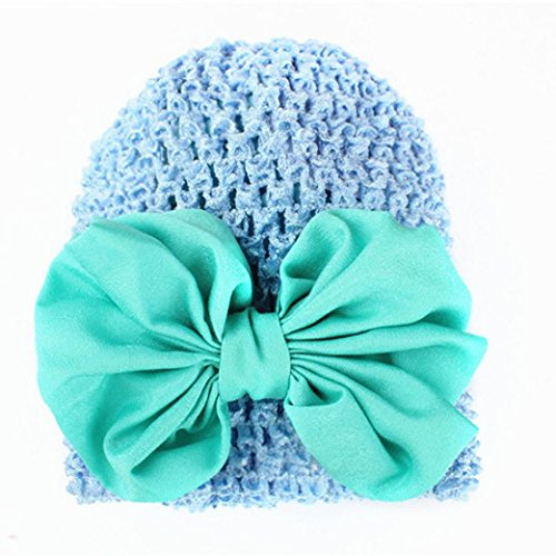 PHOTNO Toddlers Infant Baby Girl Bowknot Hollow Out Hat Headwear Hat (Blue) (Roman Head Wear)