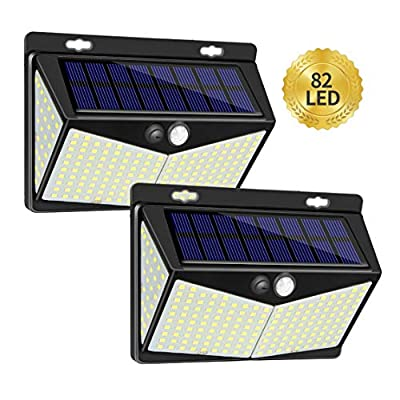 Enkman Solar Lights Outdoor 208 LED,Wireless Motion Sensor Lights with 270° Wide Angle IP65 Waterproof for Deck Fence Post Door Wall Yard and Garage Yard Garage Deck Pathway Porch Lamp