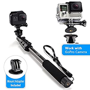HSU Monopod Selfie Stick for GoPro, Smartphone, Camera - Lightweight Rugged Waterproof Extension Pole 16.14-47.64 Inch. - Tripod Mount