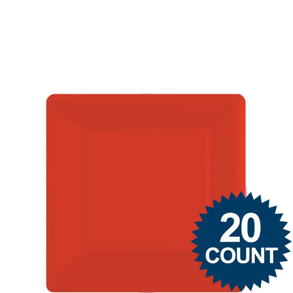 Red Party Supplies Square Dessert Paper Plates 20ct [Toy] [Toy] Amscan