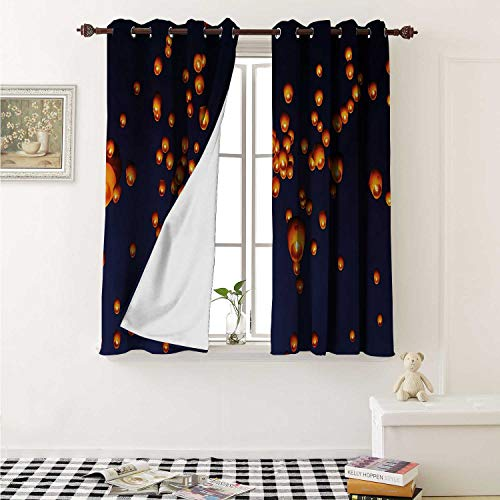 shenglv Lantern Customized Curtains PingXi District Festival at Night Taipei Taiwan Good Vibes Hope for Future Curtains for Kitchen Windows W63 x L45 Inch Night Blue Orange ()