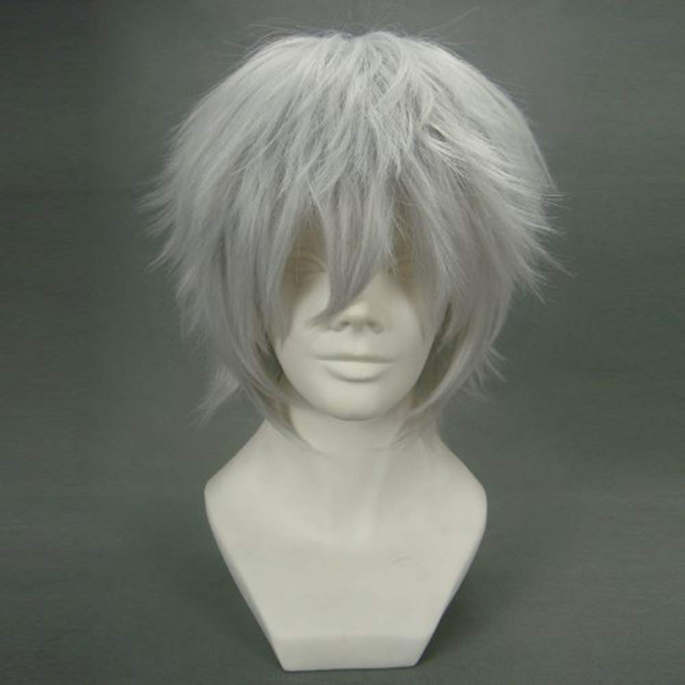 Amazon.com : Anogol® Sexy Anime Silver Short Wig Kaneki Ken Cosplay Wig Layered Straight Party Wigs : Hair Replacement Wigs : Beauty